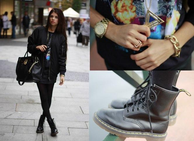 Юбка и ботинки со шнурками
